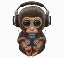 Cute Baby Monkey With Cell Phone Wearing Headphones  One Piece - Short Sleeve