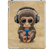 Cute Baby Monkey With Cell Phone Wearing Headphones  iPad Case/Skin