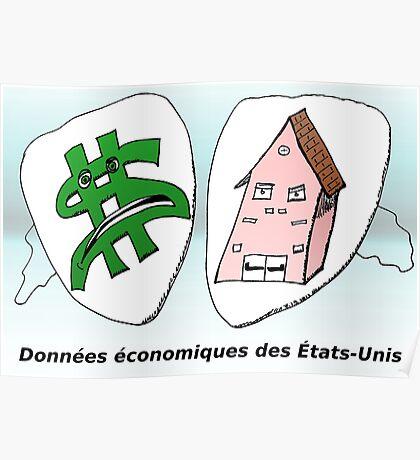 Caricature des données économiques américaines Poster