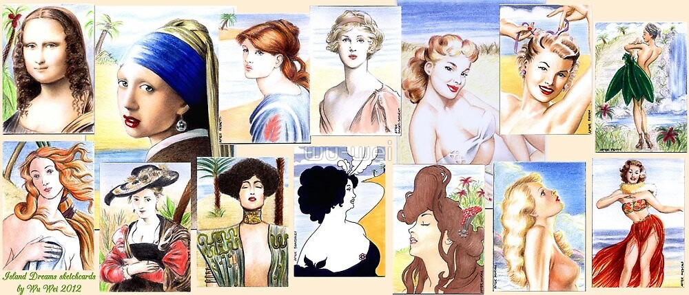 Painted Ladies through the Ages charity cards by wu-wei