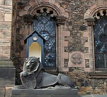 Lion sculpture in front of the Scottish National War Memorial inside Edinburgh Castle by ashishagarwal74