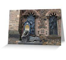 Lion sculpture in front of the Scottish National War Memorial inside Edinburgh Castle Greeting Card