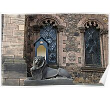 Lion sculpture in front of the Scottish National War Memorial inside Edinburgh Castle Poster