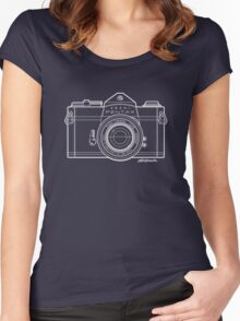 Asahi Pentax 35mm Analog SLR Camera Line Art Graphic White Outline Women's Fitted Scoop T-Shirt
