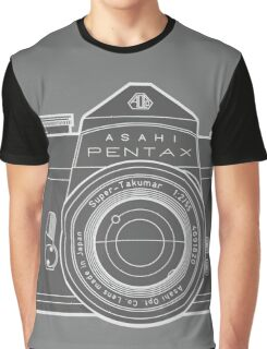 Asahi Pentax 35mm Analog SLR Camera Line Art Graphic White Outline Graphic T-Shirt