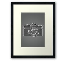 Asahi Pentax 35mm Analog SLR Camera Line Art Graphic White Outline Framed Print