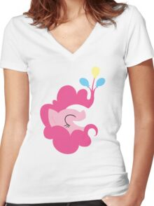 Pinkie Balloons Women's Fitted V-Neck T-Shirt