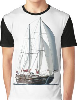 Turkish Gulet Under Sail Isolated On White Graphic T-Shirt