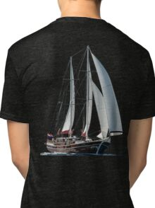 Turkish Gulet Under Sail Isolated On White Tri-blend T-Shirt