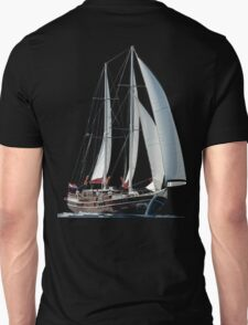 Turkish Gulet Under Sail Isolated On White T-Shirt