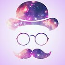 Retro Face with Moustache & Glasses / Universe  by badbugs