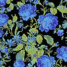 Blue And Black Roses Floral Collage by artonwear