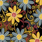 Retro Abstract Simple Retro Floral Design by artonwear