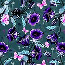 Blue and black retro flowers and butterfly's design by artonwear