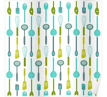 AFE Kitchen Utensils Pattern Poster