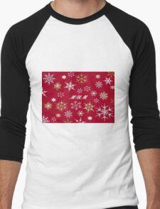 To Mum At Christmas Greeting With Snowflakes  Men's Baseball ¾ T-Shirt