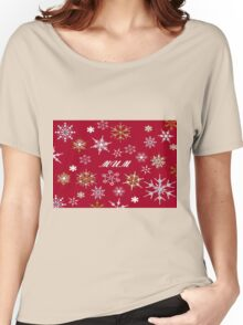 To Mum At Christmas Greeting With Snowflakes  Women's Relaxed Fit T-Shirt