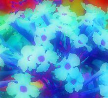 Neon Blue Wild Flowers 2 by Kellyanne