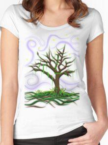 Neon Night Tree Women's Fitted Scoop T-Shirt