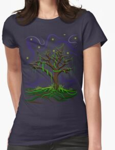 Neon Night Tree Womens Fitted T-Shirt