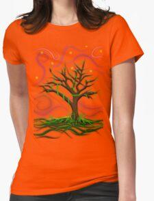 Neon Night Tree Womens Fitted T-Shirt