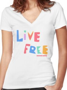 Live Free Women's Fitted V-Neck T-Shirt