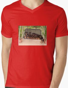 Six Rottweiler Puppies Lined Up On A Swing Mens V-Neck T-Shirt