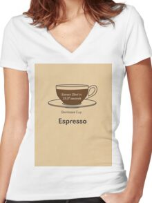 Coffee Addict, Espresso Women's Fitted V-Neck T-Shirt