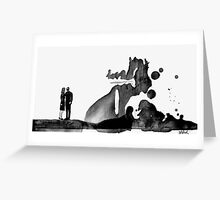figures looking at an imagined sculpture Greeting Card