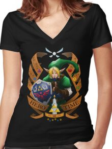 Hero of Time (Green) Women's Fitted V-Neck T-Shirt