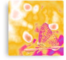 Pop Art Butterfly on leaf  Canvas Print