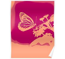 Pop Art Butterfly on flower Poster Poster