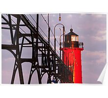 South Haven Michigan's South Pierhead Light at Dawn Poster