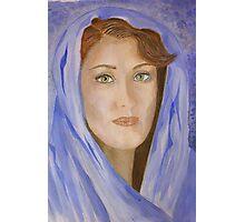 Madame dans le capot bleu Photographic Print