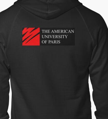 American University of Paris (AUP) - Black Background Zipped Hoodie
