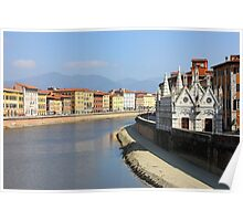 Pisa Riverside View with the church Santa Maria della Spina Poster