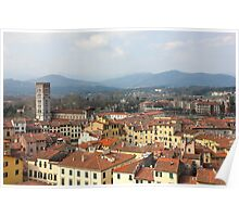 Lucca Aerial panoramic view with Piazza dell' Anfiteatro Poster