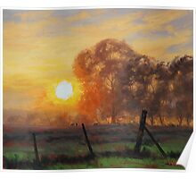 Sunrise Fence Line Poster