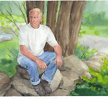 Man on rock wall watercolor painting by Mike Theuer