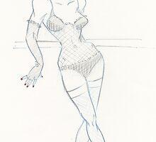 Burlesque Dancer Backstage by PhaserStuns
