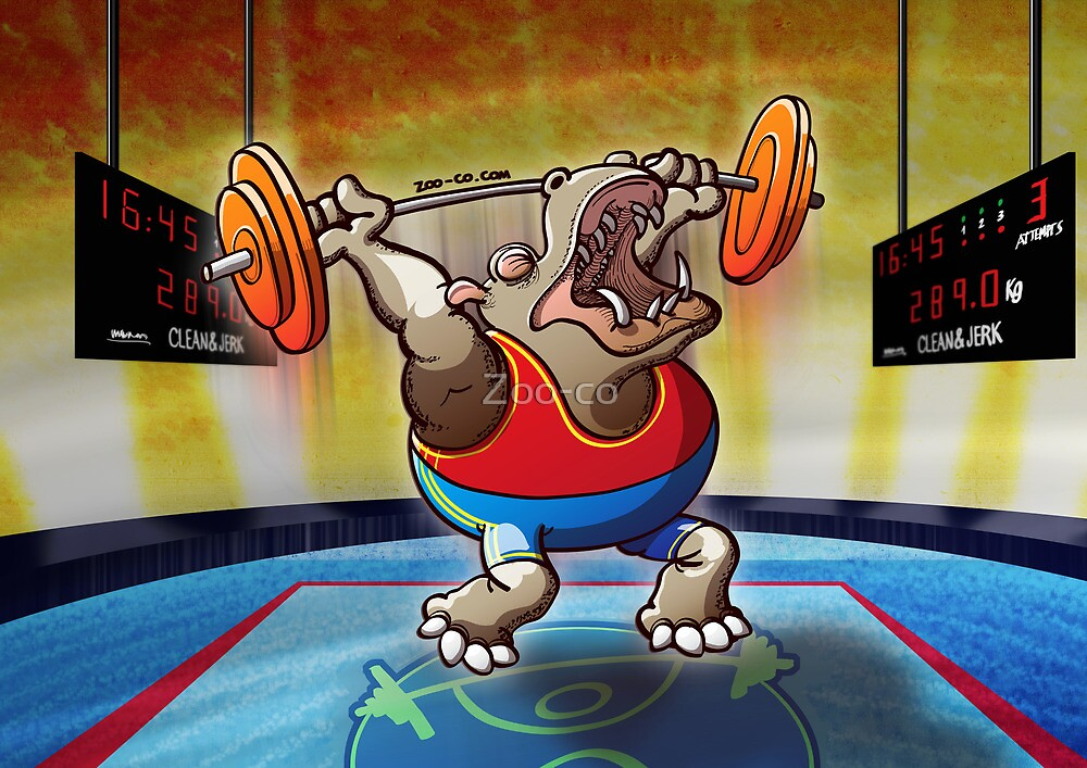 Olympic Weightlifting Hippopotamus by Zoo-co