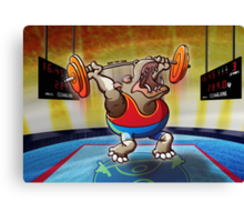 Olympic Weightlifting Hippopotamus Canvas Print