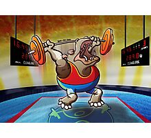 Olympic Weightlifting Hippopotamus Photographic Print