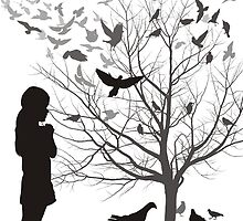 A girl admires the birds by gepard