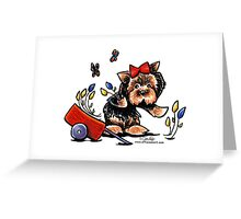 Yorkie in the Garden Greeting Card
