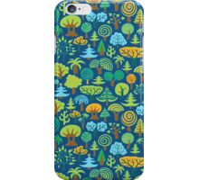 Colorful Assorted Trees Cartoon Style-Blue Background iPhone Case/Skin