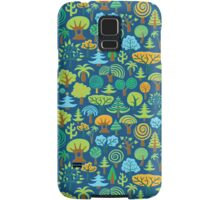 Colorful Assorted Trees Cartoon Style-Blue Background Samsung Galaxy Case/Skin