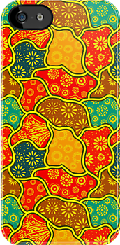 Warm Tones Retro Flowers Design by artonwear
