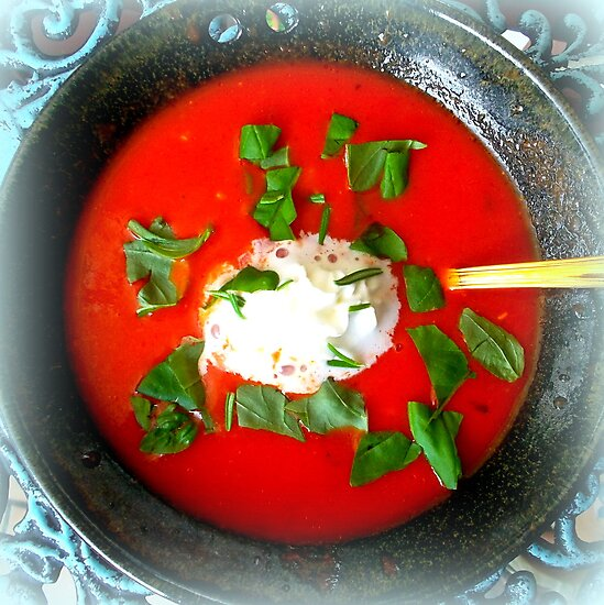 Tomato soup with cream and basil by ©The Creative  Minds