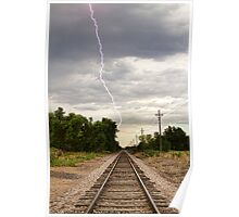 Lightning Striking By The Train Tracks Poster